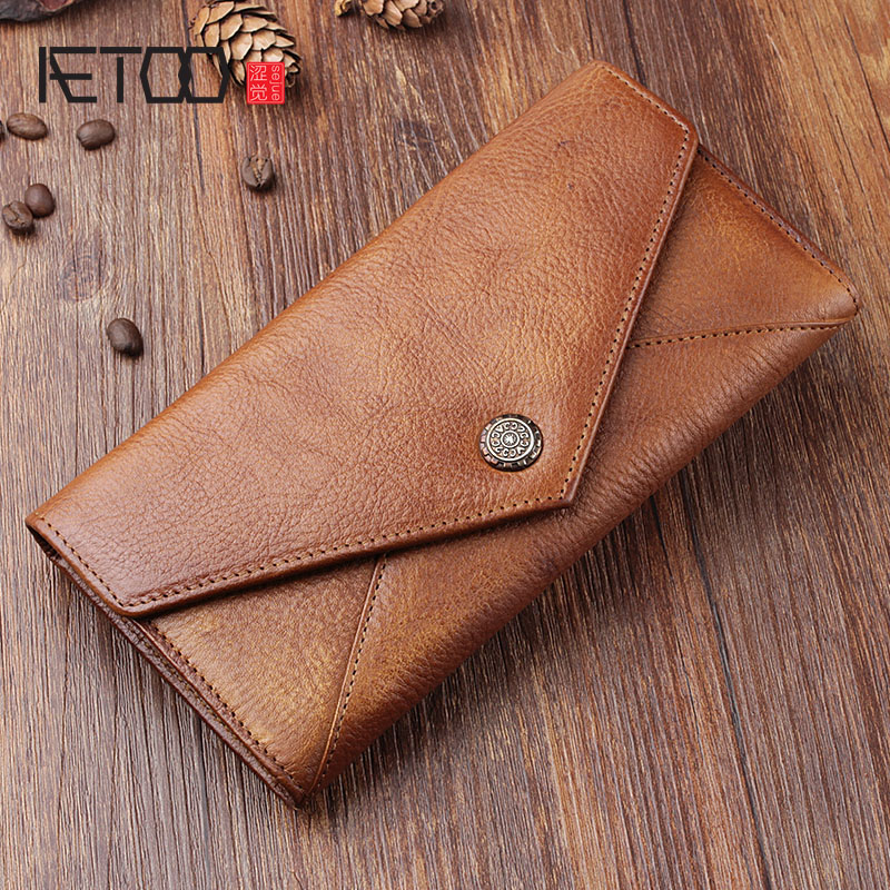 AETOO Original retro leather long wallet hand-made first layer of leather buckle long clip phone bag multi-function<br>