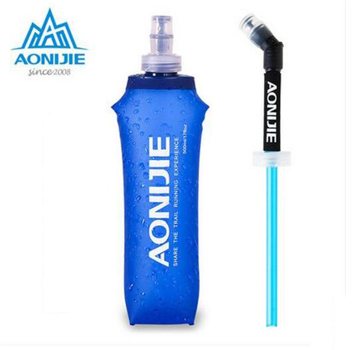 AONIJIE Portable TPU Folding Soft Long Straw Sport Bottle Outdoor Sport Hiking Camping Running Gym Cup Kettle 250ml/500ml