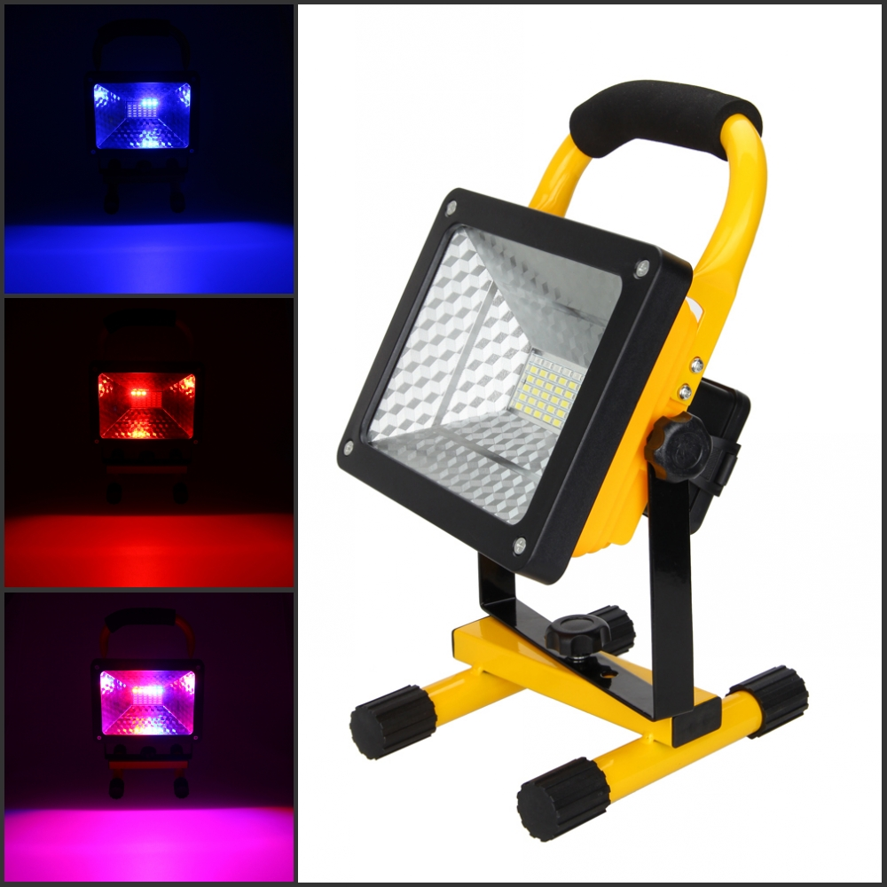 Portable Rechargeable RGB 36LED 50W Flood Spot Work Lamp Outdoor Light 3 Colors for Party KTV Stage Lighting Effect<br>