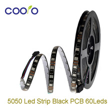 5050 LED Strip  DC12V 60Led/M Black PCB Board 5M/Roll 300LEDS Waterproof Led Flexible light Flexible Strip