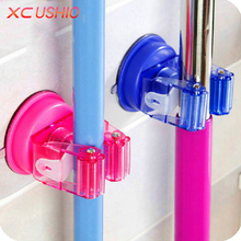 3pcs/set Round Traceless Sucker Hook Mop Holder Wall Mounted Kitchen Bathroom Suction Cup Rag/Broom/Mop Rack Storage Holder