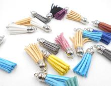 38mm Mixed Color Suede Tassel For Keychain Cellphone Straps Jewelry Charms 10pcs Leather Tassel gold Metal Caps Diy Accessories