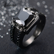 Bamos Male Black Geometric Ring High Quality Fashion Black Gold Filled Jewelry Vintage Wedding Rings For Men 2017 New Year Gifts(China)