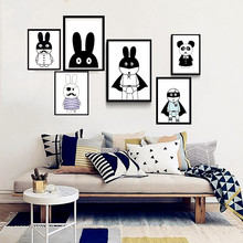 Nursery cartoon bunny black white canvas print painting wall pictures for kids bedroom decor,frame not include,M2S1(China)