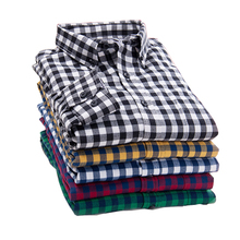 2017 New Autumn Brand Men's Plaid Shirt Male Warm Long Sleeve Shirt Plus Size Youth Office Business Casual Shirt Men(China)