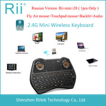 2.4G RF Rii mini i28 Wireless Air mouse keyboard Russian Layout Touchpad mouse Backlit LED Combo for Andorid TV Box PC Teclado