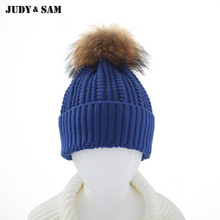 Unique Design Kid Caps For 2015 Winter Warm Hats Brand Promotion Children Knitted Gorros Genuine Fur Pom Pom Beanies 14 Color