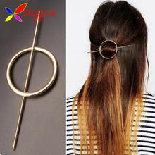 2016 Hot Fashion golden Silver Open Circle Hair Clasp Jewelry Females Metal Hair Sticks for women accessories varas de cabelo