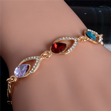 Trendy Water Drop Bracelet Love Teardrop Crystal Bracelet Gold Filled Jewelry Gift for Women Girlfriend Lovers Free Shipping