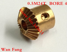 2PCS Bevel Gear 24T 0.5 Mod M=0.5 Modulus Ratio 1:1 Bore 4mm Brass Right Angle Transmission parts machine parts DIY(China)