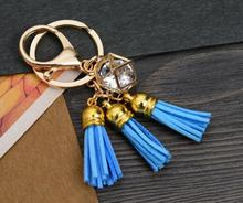 Vintage Gold Tassel Cube Keychain For Keys Car DIY Bag Key Chain Key Ring Handbag Fashion Jewelry Couple Gift  Accessories A303