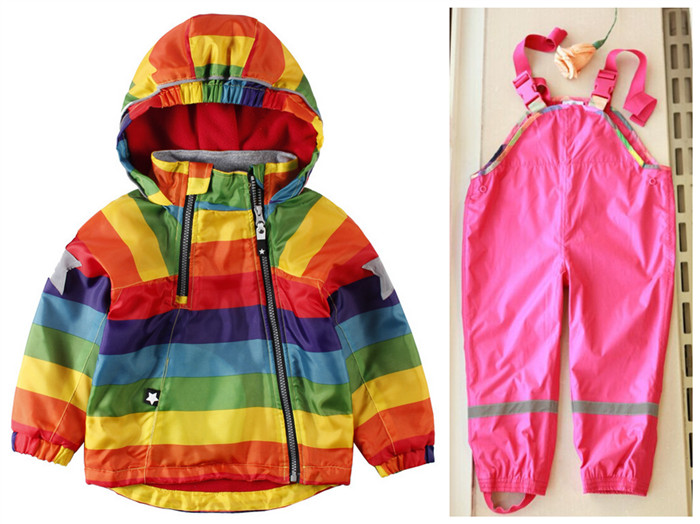 2018 Top Fashion Fashion Full Coat Autumn New Korean Childrens Clothing Baby Rainbow Striped Hooded Jacket Coatboy Girl Dress <br>