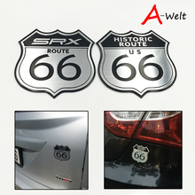 10pcs Car Sticker Styling America US the ROUTE 66 Road 3D Metal Logo Motorcycle Decal Body Laptop Cabinet For Cadillac SRX Ford(China)