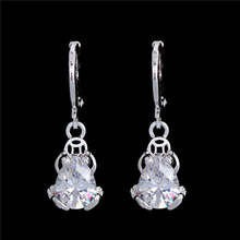 SHUANGR Frog Pendant Drop E arrings for Women White Cubic Zirconia Silver Color Earring Luxury Circle Hoop Earring Jewelry