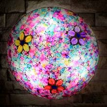 Crushed Art Colorful Glass Ceiling Light Mediterranean Ceiling Lamp Kitchen Living Room Bedroom Fixtures Avize E27 110-240V(China)