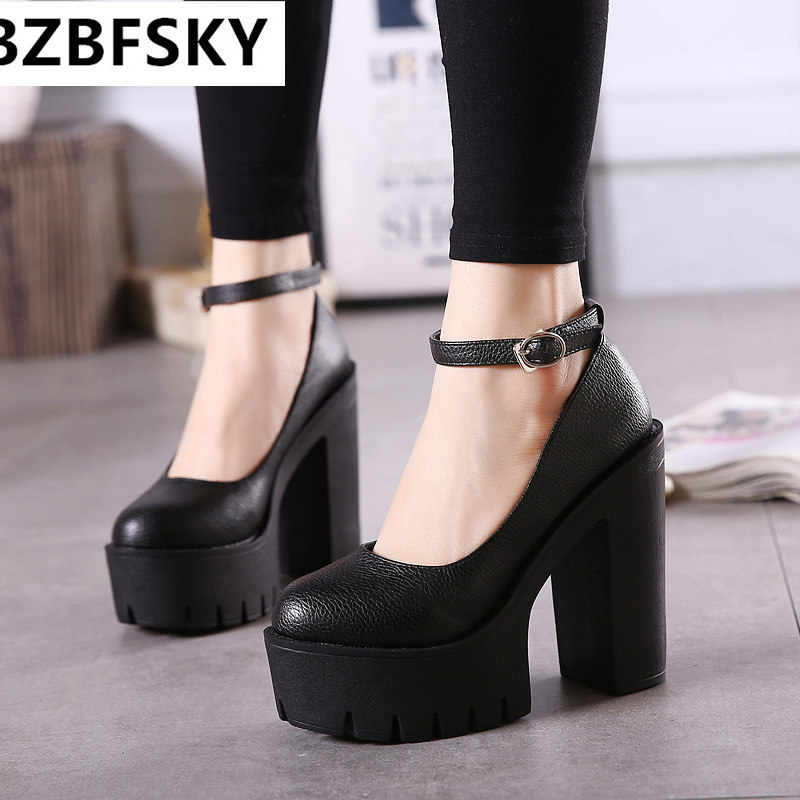 2017new fashion high heels platform pump women shoes ruslana korshunova thick heels shoes women high heels<br>