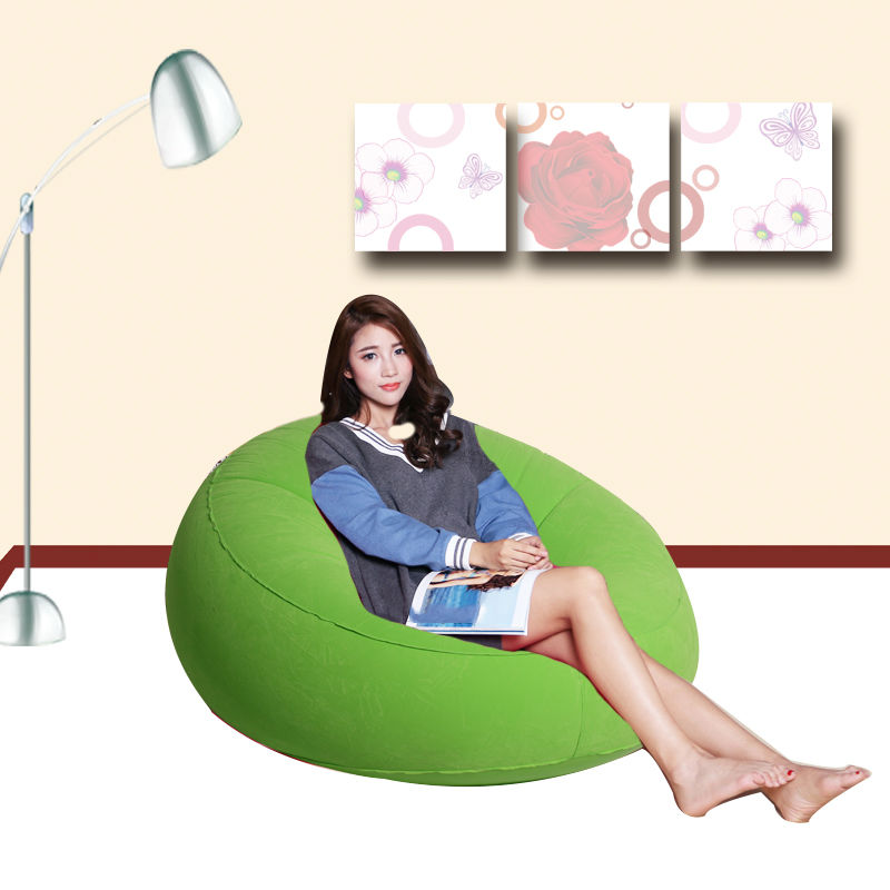 Wonderful Green Round Inflatable Flocked Chair Home Furniture Living Room Outdoor Sofa Camping Leisure Seat<br>
