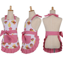1Pcs Cake Pattern Pink White Apron Woman Adult Bibs Home Cooking Baking Coffee Shop Cleaning Aprons Kitchen Accessories 46036(China)