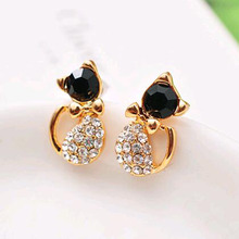 TOMTOSH 2016 New Hot Sell Fashion Earrings/Fashion jewelry/Lovely Rinestone Cat Earrings
