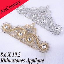 High Quality Strass 8.6x19.2cm 1pcs Dazzling Glass Material Crystal Rhinestones Applique For Wedding Decoration