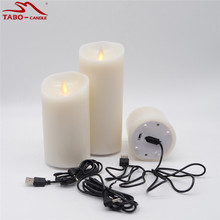 3 Pcs Remote Ready Luminara Wax Pillar Candle Rechargeable USB Wire Flameless Ivory Candle Dancing Realistic Flame for Xmas Deco