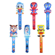 10pcs/lot 25*78cm cartoon hand held balloons Altman princess Elsa Donald duck handheld Mylar balloon Globos,kid's inflate toy.