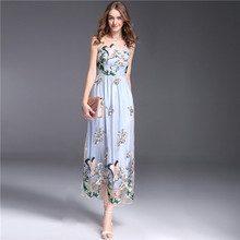 high quality women clothing summer designer brand name crane sheer mesh embroidery dress vintage midi calf dresses fit and flare(China)
