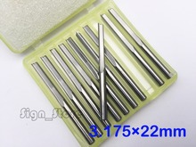 10pcs 3.175mm * 22mm Straight Slot Bit Wood Cutter CNC Solid Carbide Two Straight Flute Bits CNC Router Bits Cutter
