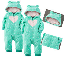 Baby Spring Fall Winter Newborn Infant Baby Boys Girls Bear Winter Warm Fleece Hooded Rompers Playsuit Crawling Clothes 3M~2Y