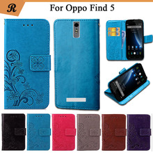 Newest For Oppo Find 5 X909 Factory Price Luxury Cool Printed Flower 100% Special PU Leather Flip case with Strap