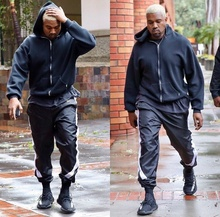 2017 mens jumpsuit urban clothing  kanye west calabasas track pants side zipper harem jogger men sporting pants black M-XXL
