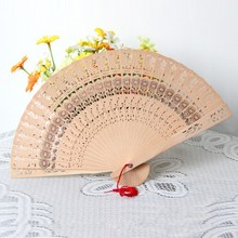 Summer Folding Bamboo Original Wooden Carved Hand Fan Wedding Bridal Party