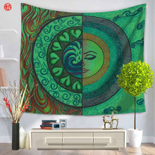 Home Textile Bohemia Tapestry Sun Moon Green Blue Mandala Wall Hanging Carpet Bedspread for home Dust Cover 150*130cm 150*200cm