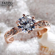 Hot Fashion Jewelry Wedding Ring for women Shiny silver Jewelry Engagement Ring Gold Color Size 6-10 ring for women Gift