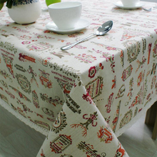 Christmas Table Cloth Cotton Linen Lace Edge Cartoon Printed Tablecloth Rectangular Home Party Festival Decorative Table Cover(China)