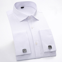 Men French Cufflinks Shirt 2017 New Men's Shirt Long Sleeve Casual Male Brand Shirts Slim Fit French Cuff Dress Shirts For Men(China)