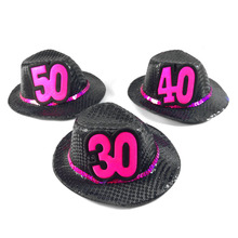 Mini birthday fedora hat black gift 50% off for 3pcs hair accessories adult souvenir 21 30 40 50 birthday event party supplies