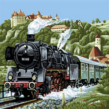 Train Moving Oil Painting By Numbers DIY Abstract Digital Picture Coloring By Numbers On Canvas Unique Gift Home Decoration 2017(China)