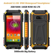 IP68 Rugged Android 5.1 Smartphone Waterproof Phone X10 MTK6735 Quad Core 5000mAH 2G RAM 4G LTE Shockproof Mobile phone X1 GPS