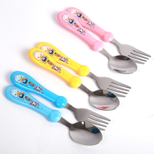 2pcs Lovely Print Cartoon Baby Kids Feeding Spoon + Fork High Quality Stainless Steel Baby Utensils Spoon Flatware Set AY872895