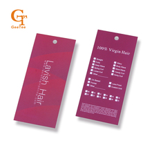 Custom shop name virgin hair extension brand hang tags,customized length type of human hair paper hang swing tags with hair care(China)