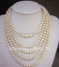 Free Shipping! Marvelous 100 inches Long Pearl Necklace 6-7mm Ivory Freshwater Pearl Necklace-FP318