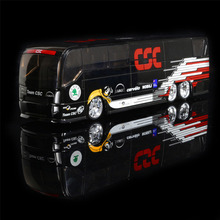 1:50 Denmark CSC Cycling Teams Dlscovery Travel Coach Bus Simulation Model Alloy Car Home Decoration Gift Toy(China)