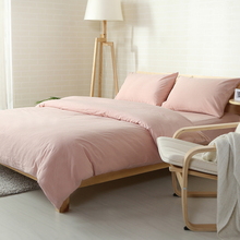light pink solid simple style linens bedding sets 100% washed cotton Queen/Full/Double/King Size fitted sheet set