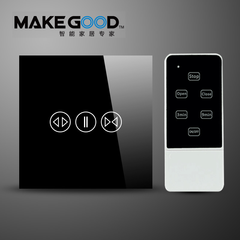 Makegood Luxury Galss Panel EU Standard Remote Control Smart ElectricTouch Curtain Wall Switch With LED indicator Blue Backlight<br>