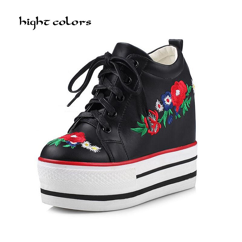 New 2017 Wedges Women Boots Fashion Height Increasing Platform Ankle Boots Lace Up High Heels Spring Autumn Shoes For Women<br>