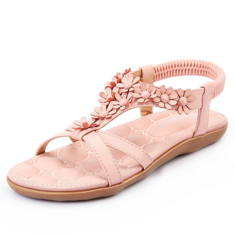 Large size shoes 41-43 flower sandals female students thick pregnant women flatties<br><br>Aliexpress