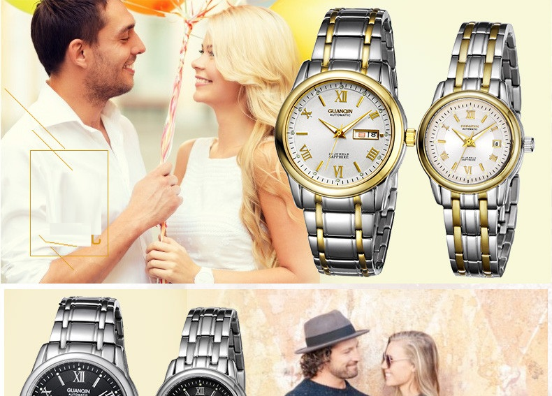 1 Pair GUANQIN Lovers Mechanical Watches Couple Automatic Watch Men Women Clock Auto Date Luminous Waterproof Brand Watch Men (13)