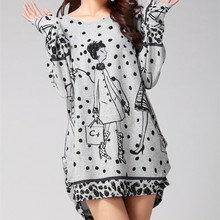L-5XL 2017 winter autumn women casual print long sleeve dress plus size loose fashion dresses tunic big large cotton(China)