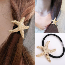 2017 Fashion New Golden Starfish Shaped Metal Texture Hair Rope Hair Ring Hair Accessories Drop Shopping